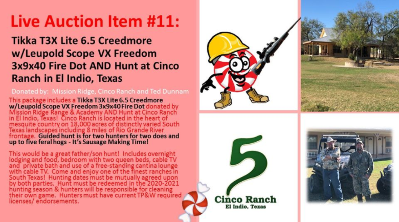 Only 2 More Days until the 19th Annual Construct A Kid's Christmas Gala! Check out one of our AMAZING Live Auction Items…